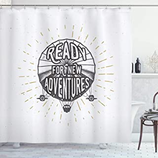 SZZWY Inspiring Preparation for New Adventures Inspirational Letters on The Balloon Printing Easy to Clean Shower Curtains for Bathroom Bathrooms Hotel Curtains Black and White
