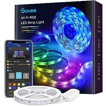 Govee Striscia LED, Smart 5m WiFi RGB Compatibile con Alexa e Google Assistant, App Controllato Musica, Multicolore per casa, Bar, Festa,12V 1.5A