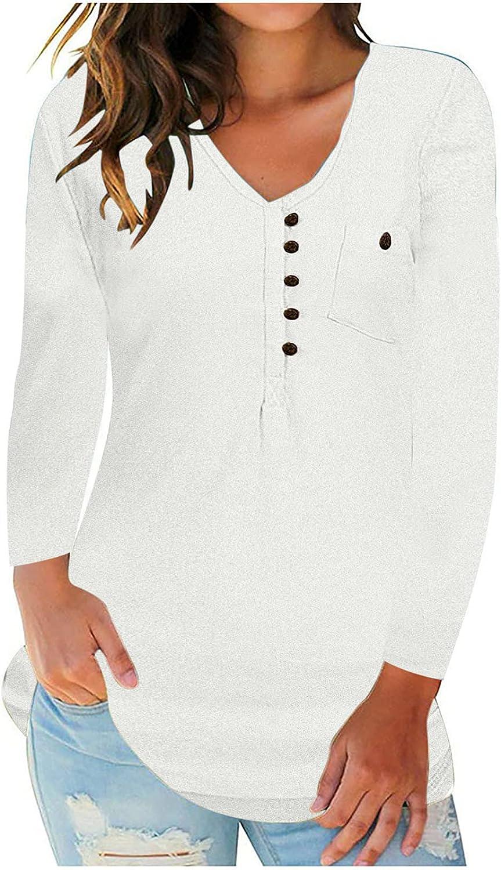 Women's Button Down Long Sleeve Tee Shirt Fall Lightweight Pullovere Tops Casual Sweatshirt Hoodies with Pocket