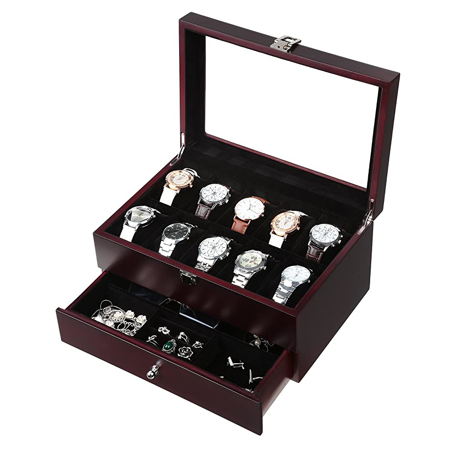 SONGMICS Mens Wooden Watch Box 10 Slots Jewelry Organizer Storage Case with Real Glass Top, UJOW02Z