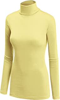 Lock and Love LL Womens Lightweight Long Sleeve Rib Turtleneck Top Pullover Sweater - Made in USA