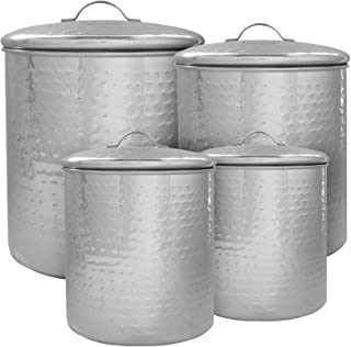 American Atelier Hammered Steel Canister Set 4-Piece Jars Chic Design With Metal Lids for Cookies, Candy, Coffee, Flour, Sugar, Rice, Pasta, Cereal and More Steel
