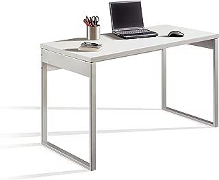 Madera Marr/ón y Blanco 93 x 50 x 116 cm Versa Mesa de Escritorio para Ordenador Despacho Linnea con estanter/ía