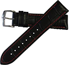 Hirsch Performance George Calfskin Leather Alligator Embossing Watch band w/Rubber Lining Black w/Red Stitching 24mm