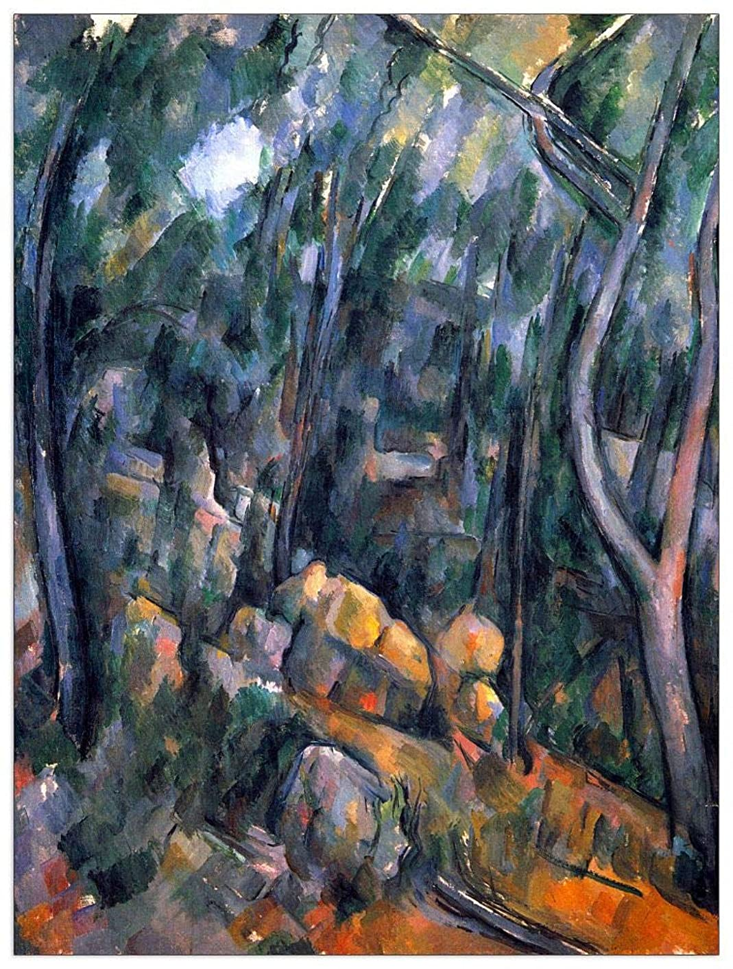 ArtPlaza TW92100 Cezanne Paul-Forest Caves in The Cliffs Above The Chaìteau Noir Decorative Panel 27.5x35.5 Inch Multicolored
