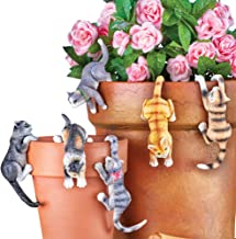 Cute Kitten Planter Pot Hanger Decorations, Set of 6 - Makes a Great Garden Gift for Cat Lovers