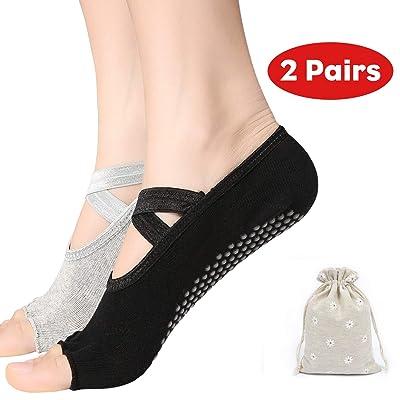 Yoga Socks for Women with Grip  Non Slip Toeles...