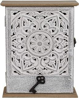 ootb Armoire à clés en Bois avec Porte, décor Floral Blanc, 20 x 26,5 cm