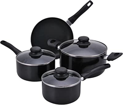 Aramco Proctor Silex 7 Piece Aluminum Cookware Set with Non-Stick Interior, Large, Black (PAA601)