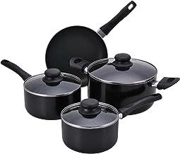 Proctor Silex 7 Piece Aluminum Cookware Set with Non-Stick Interior, Large, Black