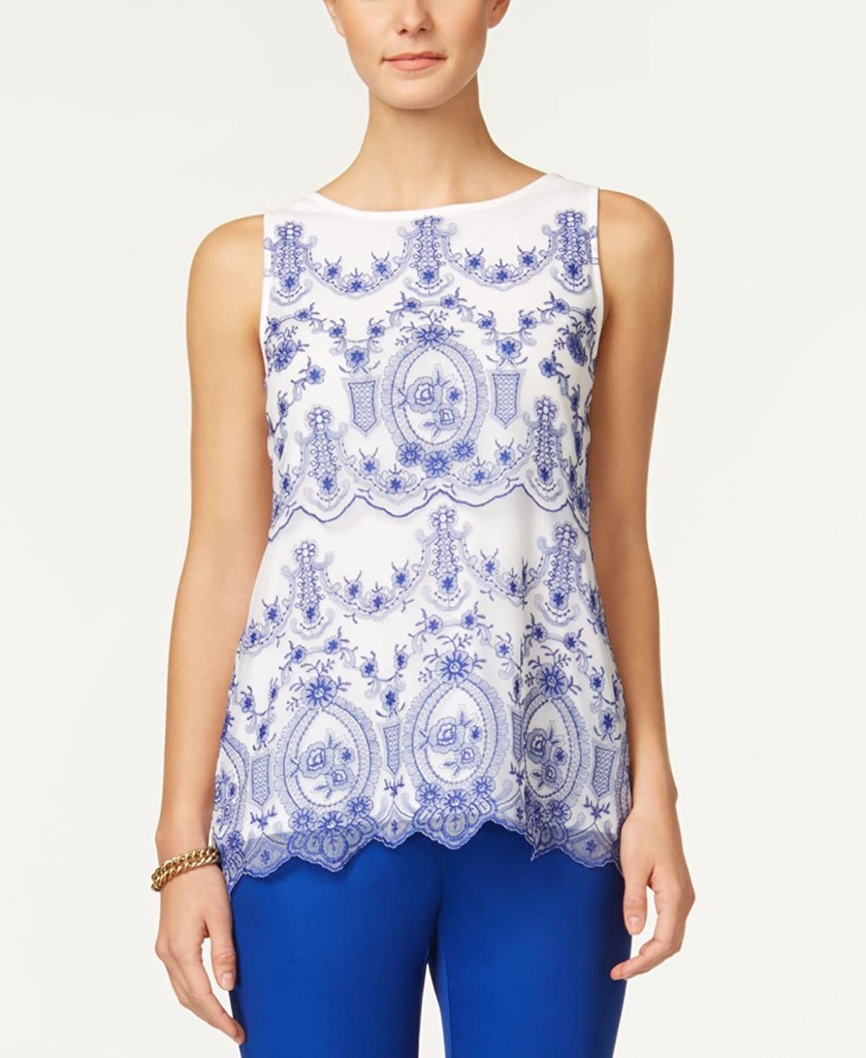 Charter Club Womens Embroidered Mesh Knit Blouse