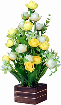 loixaa Artificial Yellow & White Tropical Mini Rose Bunch in Wooden vase Arrangement (12 Inch Height)