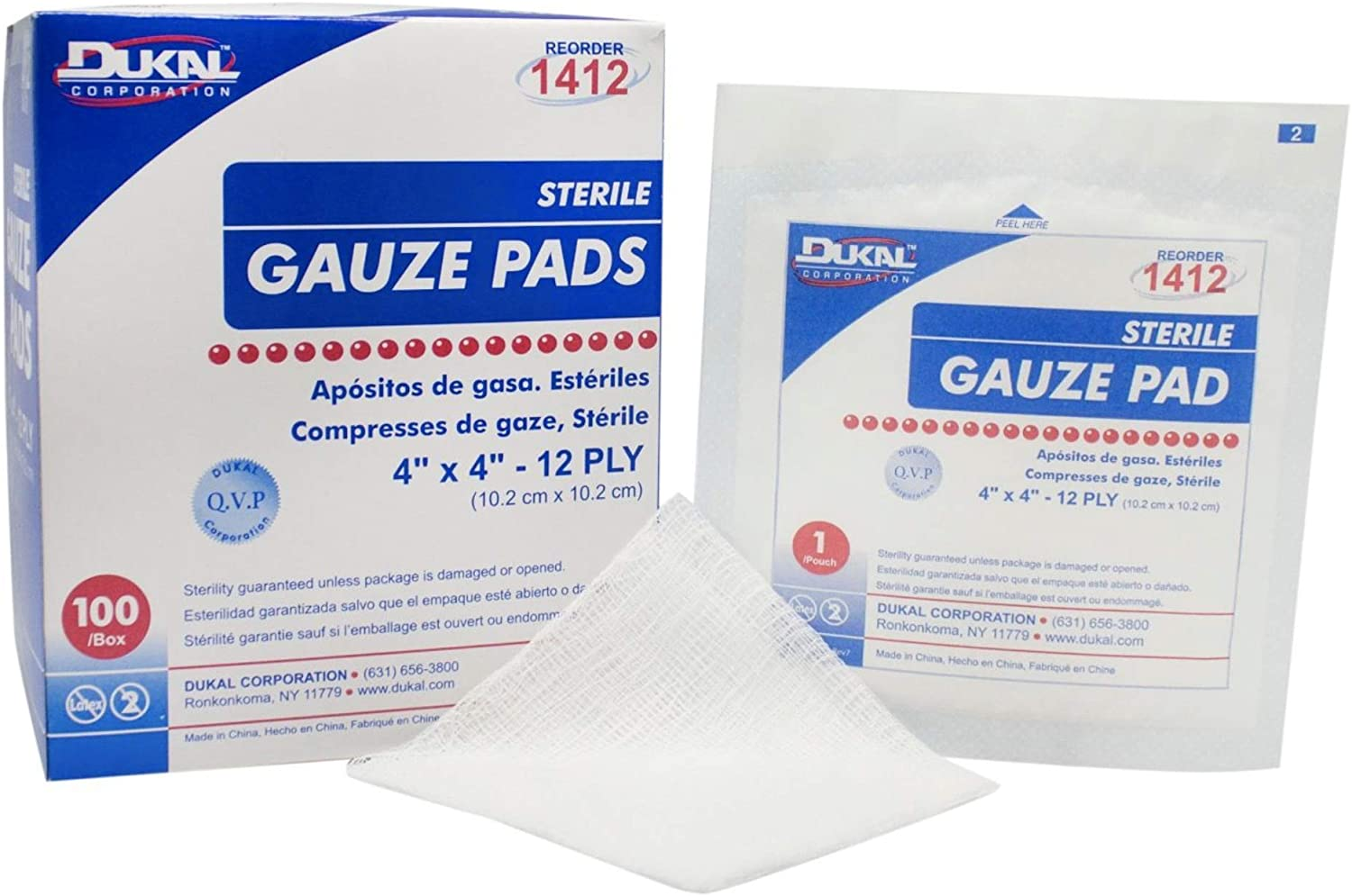 Dukal Today's only Sterile Gauze Pads 100% and Wra Individually Cotton Gifts Woven