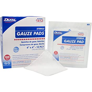 """Dukal Sterile Gauze Pads, 100% Woven Cotton and Individually Wrapped, 4"""" x 4"""", 12-Ply Pad, Box of 100"""