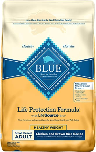 Blue Buffalo Life Protection Formula Healthy Weight Small Breed Dog Food Natural Dry Dog Food for Adult Dogs Chicken and Brown Rice 15 lb. Bag 800294