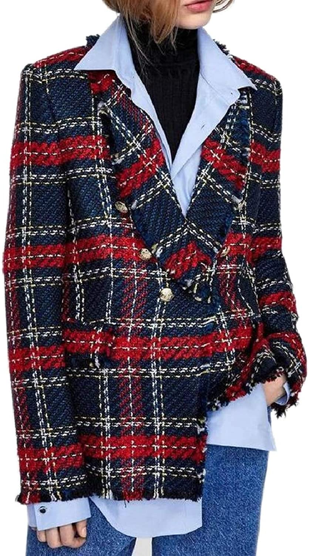 ZXFHZSCA Womens Double Breasted CheckLapel Woollen Blend Blazer Pea Coat Outerwear