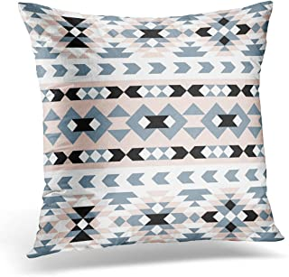 TORASS Throw Pillow Cover Pink Modern Mod Southwest Geometric Blush and Navy Quilt Decorative Pillow Case Home Decor Square 20x20 Inches Pillowcase
