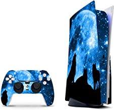 PS5 Skin for Console and 2 Controllers by ZOOMHITSKINS, Same Decal Quality for Cars, Wolf Pack Blue Moon Sky Stars Night, ...