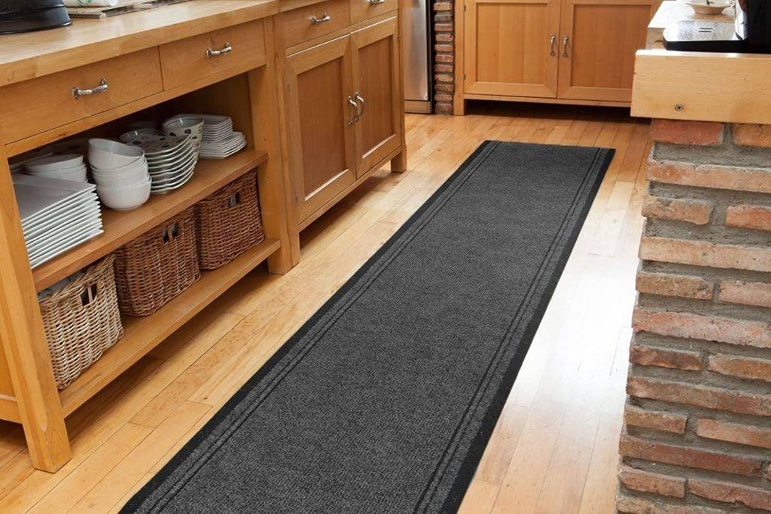 The Rug House Plain Grey Rubber Backed Very Long Hallway Runner Rugs - Sold And Priced Per Foot - 2' 2  Wide