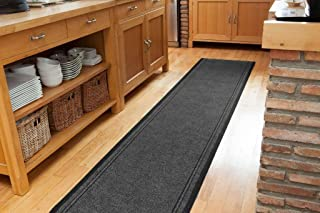 The Rug House Plain Grey Rubber Backed Very Long Hallway Runner Rugs - Sold and Priced Per Foot - 2' 2