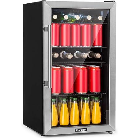 KLARSTEIN Beersafe - Réfrigérateur, Porte vitrée panoramique, Panneau de contrôle, Affichage numérique, Eclairage intérieur LED, Double isolation, Installation flexible, Noir - 98L