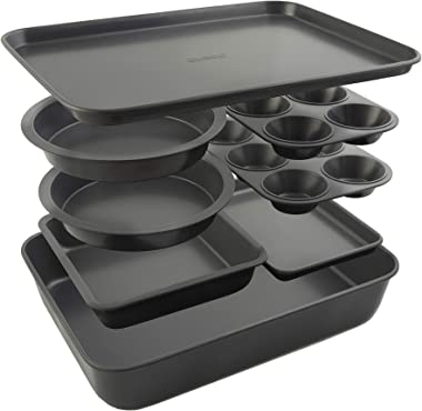 Elbee Home 8-Piece Nonstick Aluminized Steel, Space Saving Baking Set, With Deep Roasting Pan, Cookie Sheet, Cake Pans, Muffi