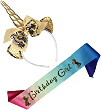 Birthday Girl Set of Unicorn Mermaid Headband & Pink Satin Sash for Girls