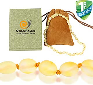 Raw Baltic Amber Teething Necklace for Baby, 100% Authentic Unpolished Amber Necklace for Infant & Toddler Teething Relief (Lemon)