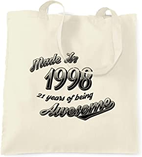 21st Birthday Gift Tote Shopping Cotton Bag Ancient 1998 Matured To Perfection
