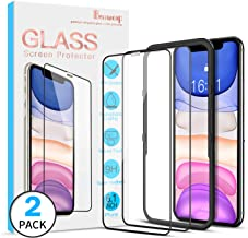 Benazcap [2 Pack] Full Coverage iPhone 11 Screen Protector/iPhone XR Screen Protector, Tempered Glass Screen Protector with Installation Frame 9H Clear Natural Touch for iPhone