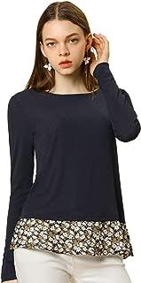 Women's Round Neck Long Sleeves Tops Knit Side Slits Floral Hem Blouse