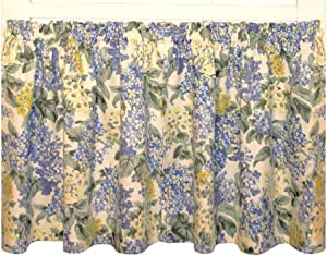 Hydrangea Floral Print Tailored Tiers Curtains Pair 68-Inch-by-30-Inch