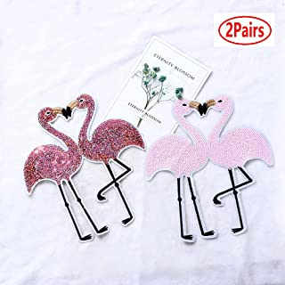 2 Pairs Flamingos Sequins Big Patch Bird Embroidered Applique Fashion Clothing Decoration Sew On Patch DIY Accessories(Pink1)