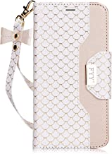 FYY Leather Case with Mirror for iPhone 6S Plus/iPhone 6 Plus, Leather Wallet Flip Folio Case with Mirror and Wrist Strap for iPhone 6S Plus/6 Plus White
