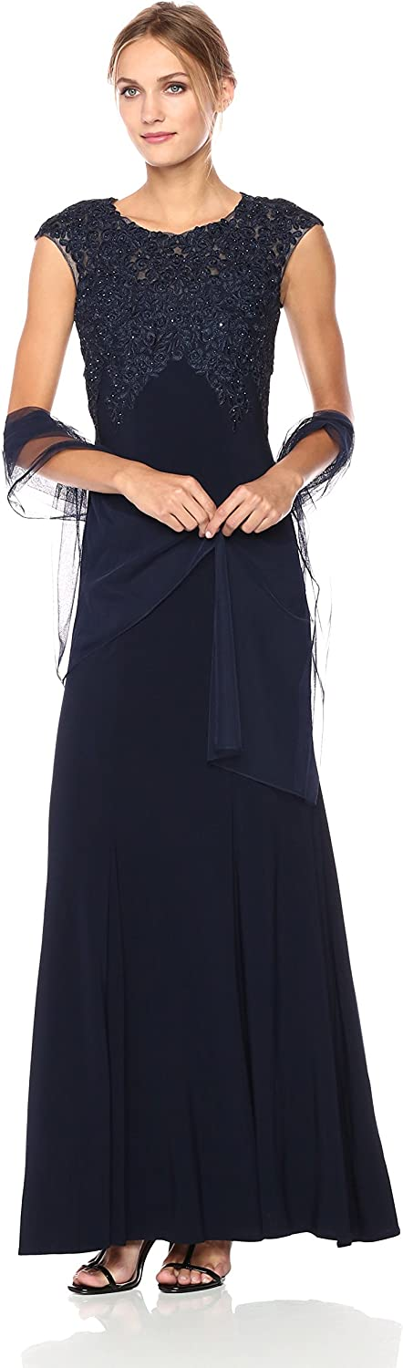 Xscape Womens Long Ity Capsleeve Embroidred Beads with Shawl Dress