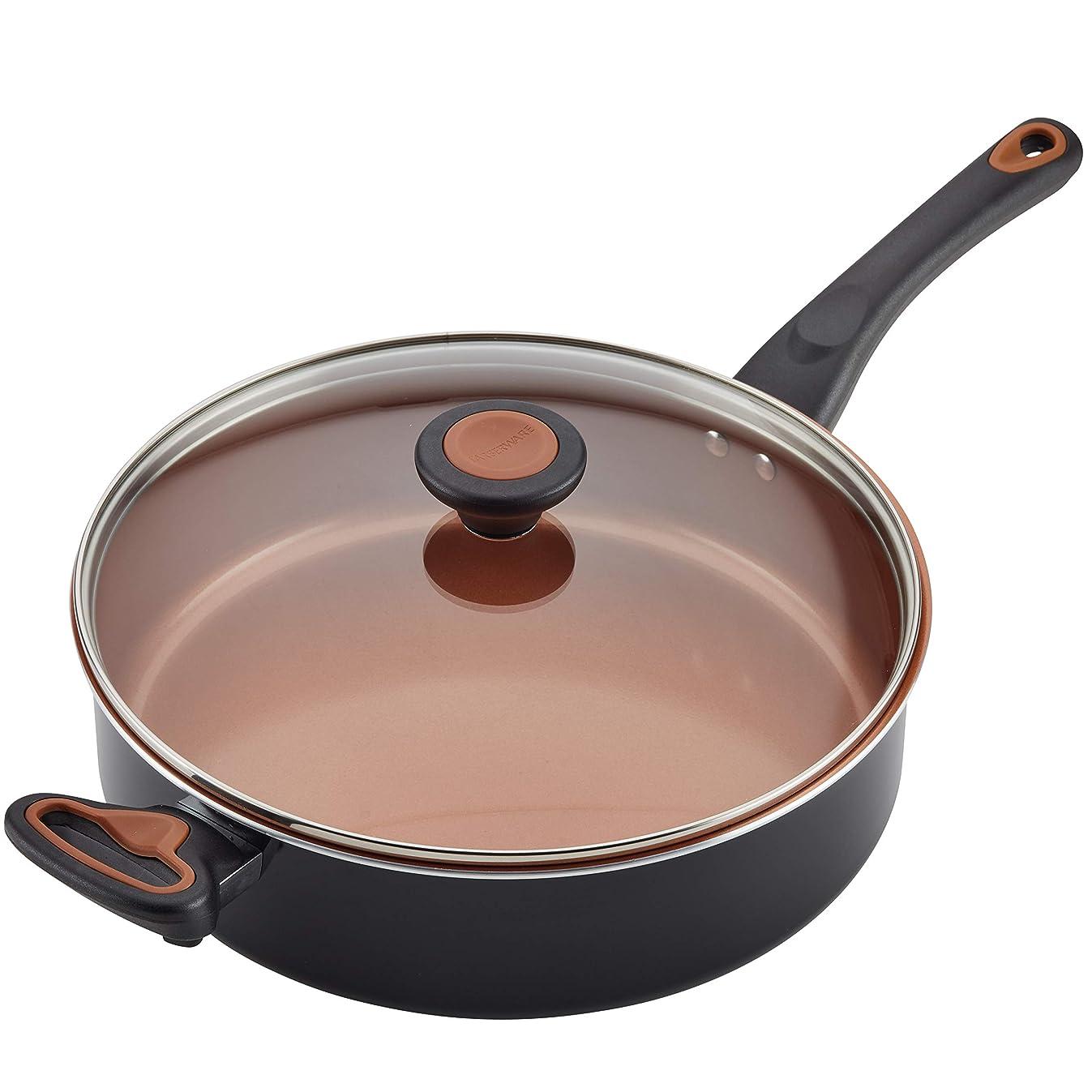 Farberware Glide Copper Ceramic Nonstick Covered Sauté with Helper Handle, 4-Quart, Black