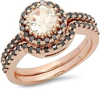 14K Round Morganite & Black Diamond Ladies Bridal Halo Style Engagement Ring Set, Rose Gold