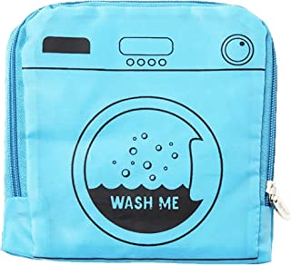 """Miamica Foldable Travel Laundry Bag, 21"""" x 22"""", """"Wash Me"""" Blue – Lightweight, Durable Design with Drawstring Closure"""