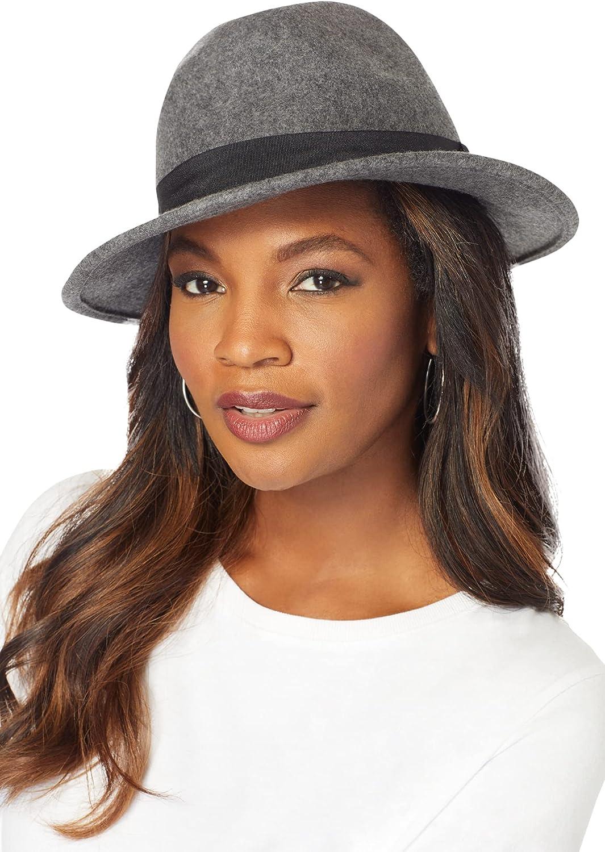Roamans Women's Selling Plus Size Classic Felt Wool 100% Fedora Hat