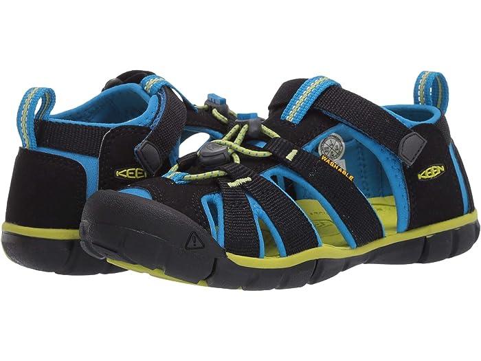 4 US Unisex Big Kid KEEN Seacamp 2 CNX Closed Toe Sandal Black Iris//Vivid Blue