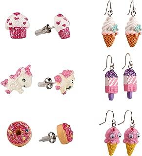 Hypoallergenic Earrings Dangle Set for Kids, Earrings for Sensitive Ears, Cute ice cream Swing Pendant Earrings Little Girls Gifts