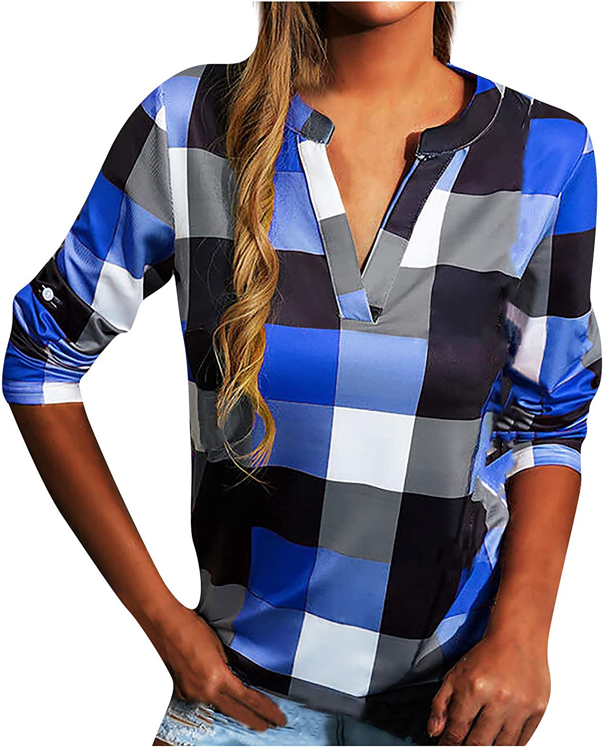 Button-Down Shirts for Women Casual Blouse Stand-up Collar Long Sleeve Plaid Print Loose Shirt Top V Neck