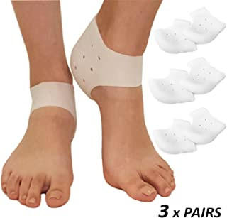 Plantar Fasciitis Inserts Heel Protectors - Silicone Gel Heel Cups Shoes Inserts, Orthotics Heel Cushion for Bone Spur & Heel Spur Pain Relief 3 Pairs of Foot Pain Plantar Fascitis Heel Sleeves - 3mm