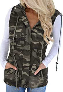 Tutorutor Women's Military Safari Vest Utility Lightweight Sleeveless Hooded Drawstring Jackets with Pocket