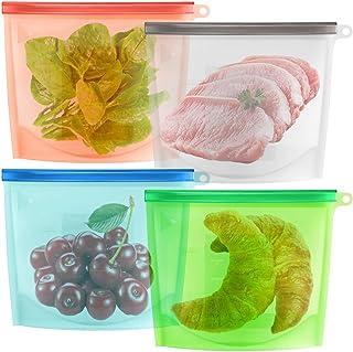Bolsa de almacenamiento de alimentos de silicona reutilizable conjunto de 4, maxin silicona preservación bolsa hermética empaque contenedor de alimentos para frutas verduras preservación de la carne contenedor hermético cocina versátil