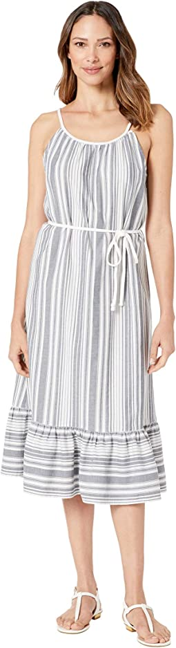 Dobby Stripe Halter Midi Dress