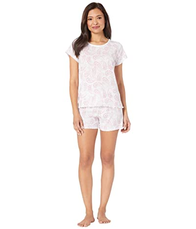 LAUREN Ralph Lauren Slub Rib Knit Short Sleeve Lace Neck Boxer Pajama Set (Multi Paisley) Women