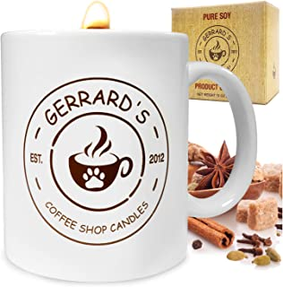 Crackling Candle - Spiced Chai Tea Latte Scented Fragrance - Wooden Wick, Fun Fresh Aroma, Full Size Mug, Relaxation Natural Soy Aromatherapy Box Set for Men Women