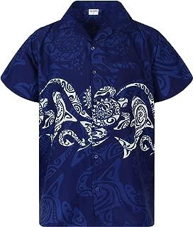 King Kameha Hawaiian Shirt for Men Funky Casual Button Down Very Loud Shortsleeve Unisex Maori Chestprint