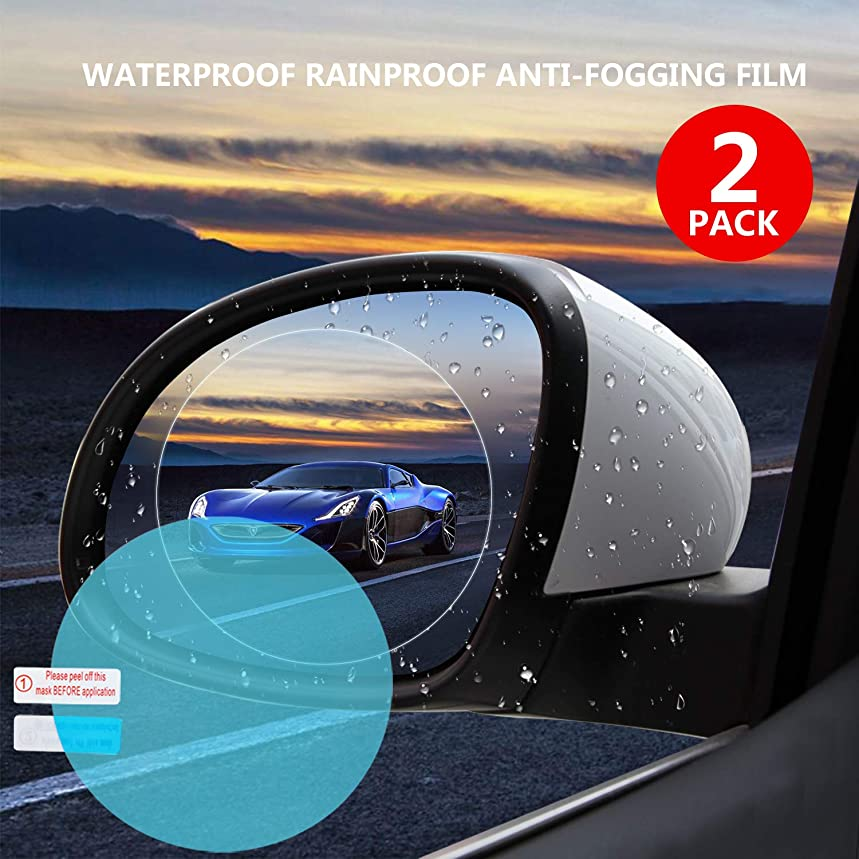 Car Rearview Waterproof Film,Mirrors Rainproof,Anti Fog Anti-Fogging,Anti-Mist Anti-Dazzle,Anti-Glare Side Mirror Window Protector Film,Car Mirror Accessories(2PCS)